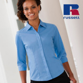 Z926F - Ladies` 3/4 Sleeve Fitted Polycotton Poplin Shirt