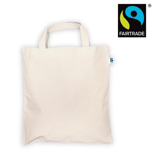 3842KF_N - Fairtrade Tote Bag natur mit kurzen Henkeln