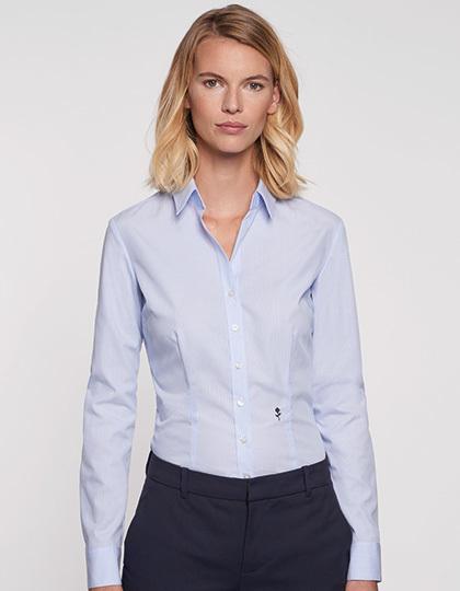 SN080619 - Women`s Blouse Slim Fit Check/Stripes Longsleeve