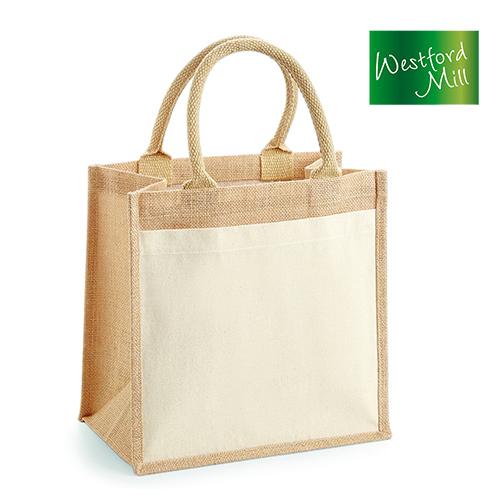 Cotton Pocket Jute Midi Bag - Westford Mill - WM426