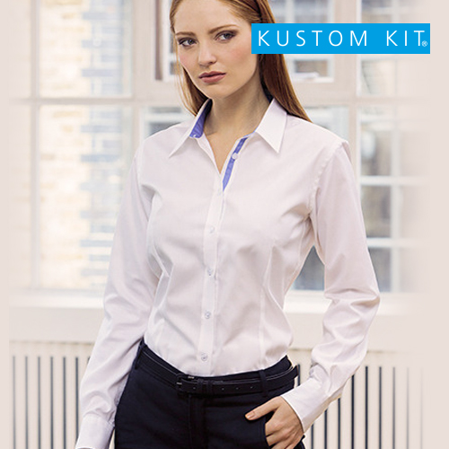 K790 - Women`s Tailored Fit Contrast Premium Oxford Shirt Long Sleeve
