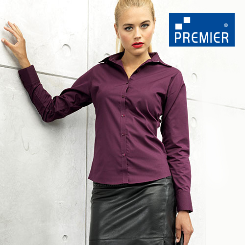 PW300 - Ladies` Poplin Long Sleeve Blouse