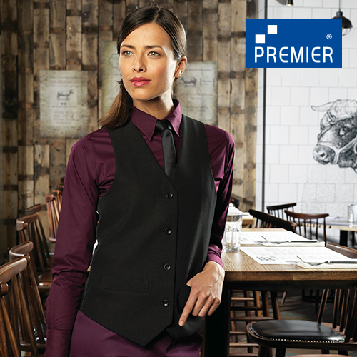 PW623 - Ladies Lined Polyester Waistcoat (Premier Workwear)