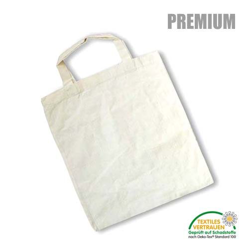 XT001 - Baumwolltasche PREMIUM *natur* mit kurzen Henkeln