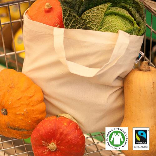 XT500 - Fairtrade Baumwolltasche, natur, kurze Henkel - BCS Lizenz-Nr. 22307