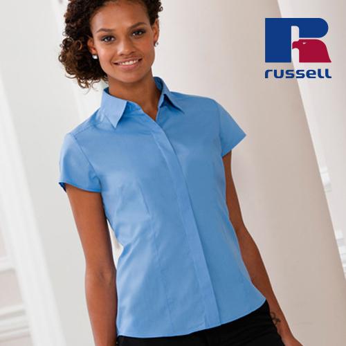 Z925F - Ladies` Cap Sleeve Fitted Polycotton Poplin Shirt