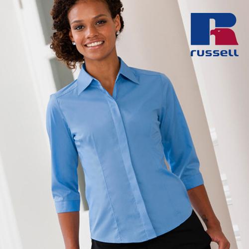 Z926F - Ladies` 3/4 Sleeve Fitted Polycotton Poplin Shirt