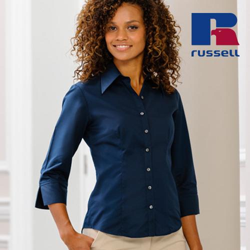 Z954F - Körperbetonte Bluse aus Tencel® mit 3/4-Ärmeln